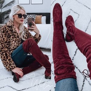 24HR SALE❤️ Burgundy suede over the knee boots